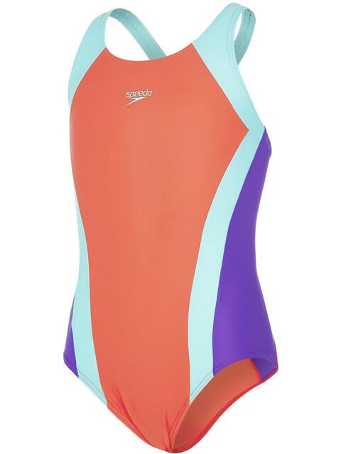 speedo Contrast Panel Splashback Badpak Kinderen oranje/turquoise